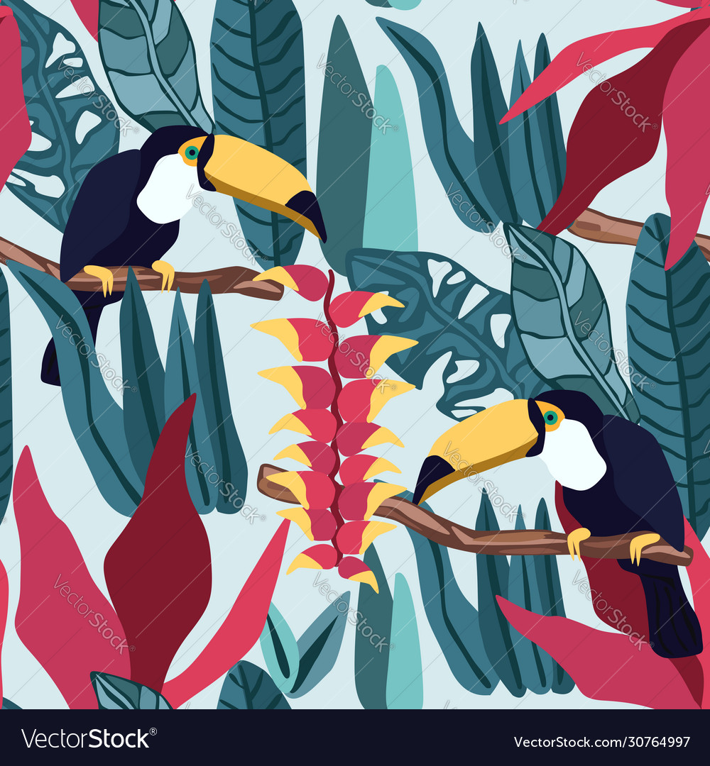 Tropical leaves seamless pattern with toucan