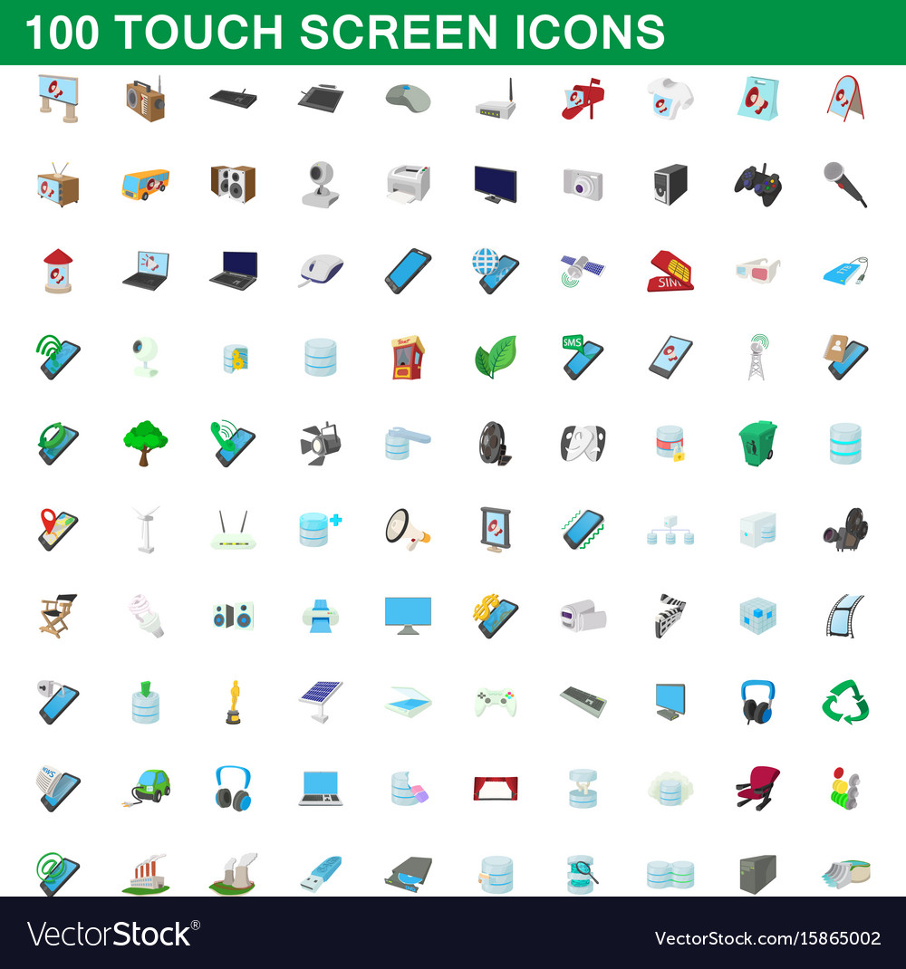 100 touch screen icons set cartoon style