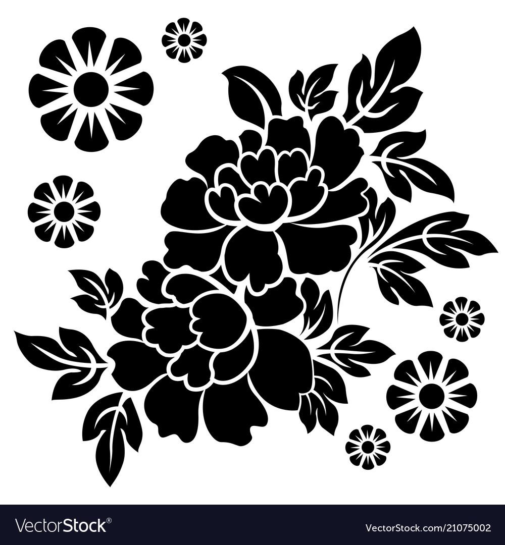 Black silhouette flowers
