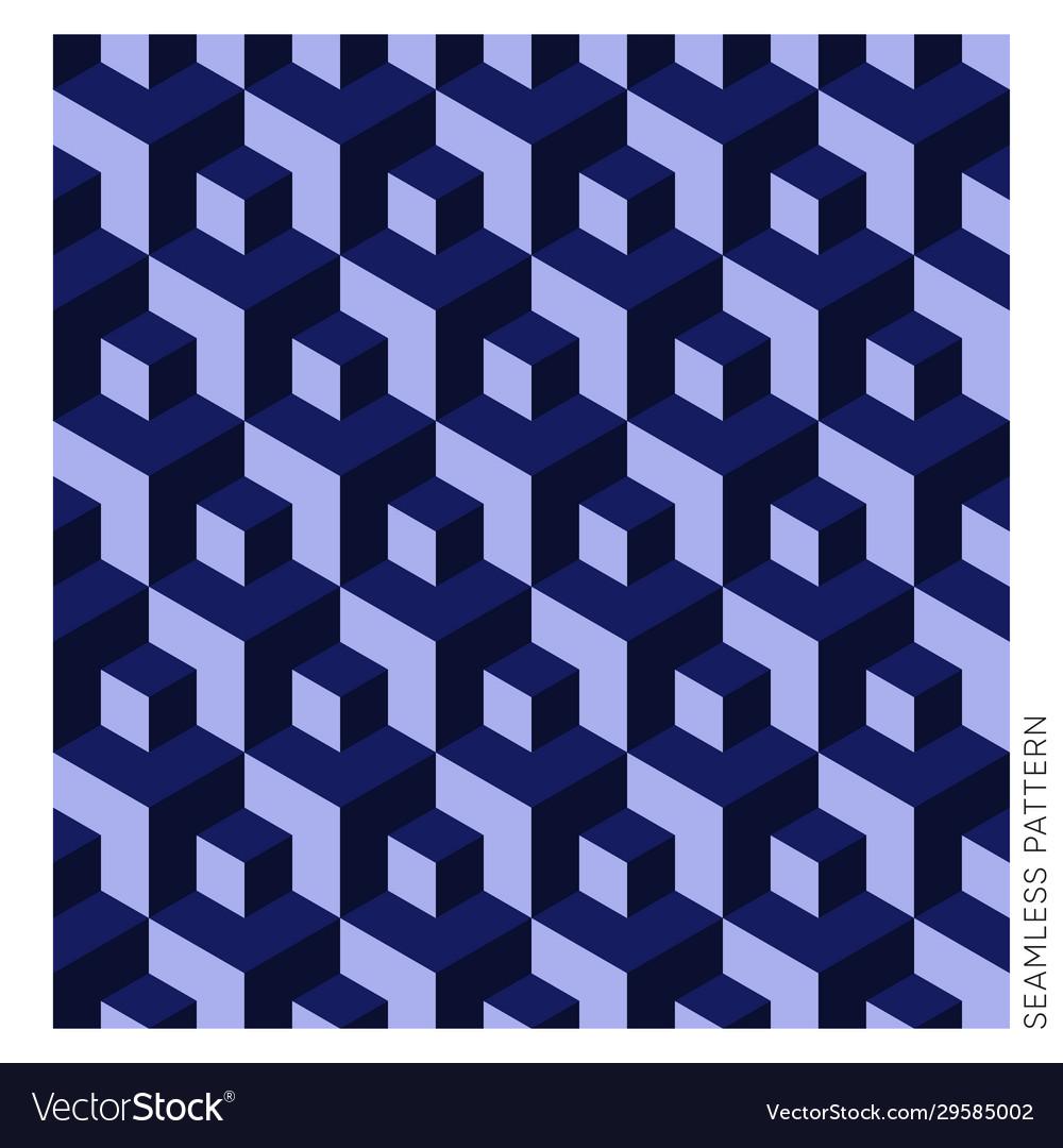 Blue geometric 3d cube seamless pattern