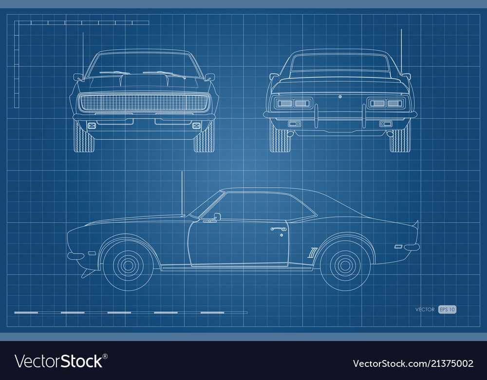 Blueprint of retro car american automobile