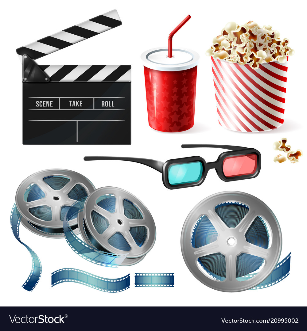 Cinema clipart of 3d realistic objects