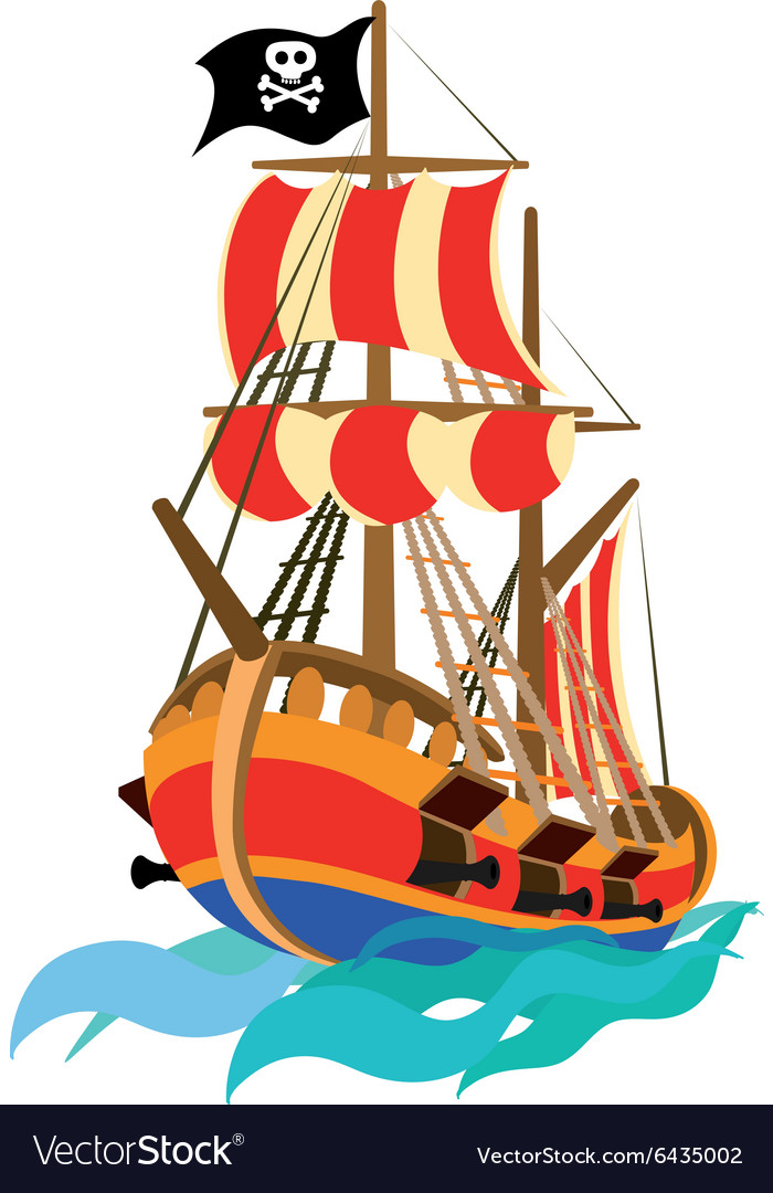 funny pirate ship royalty free vector image vectorstock rh vectorstock com pirate ship wheel vector pirate ship vector drawing