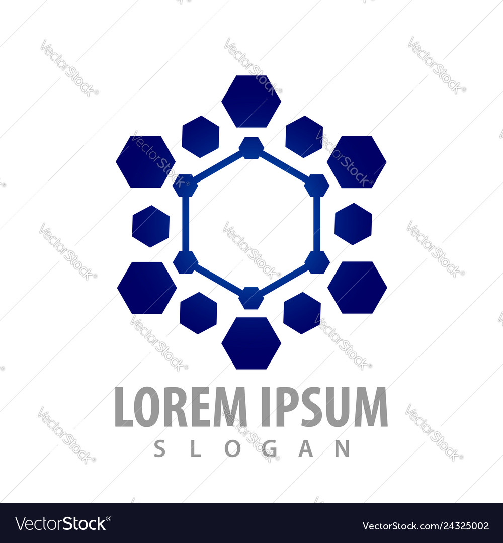 Futuristic hexagon tech concept design symbol