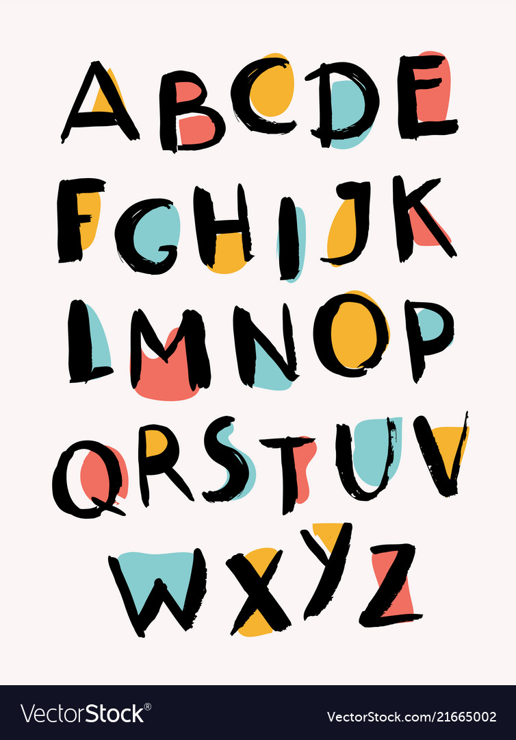 Hand drawn letters stylish alphabet trendy abc