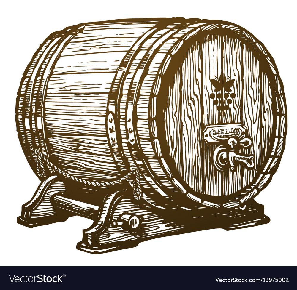 Hand drawn wooden wine cask drink oak barrel
