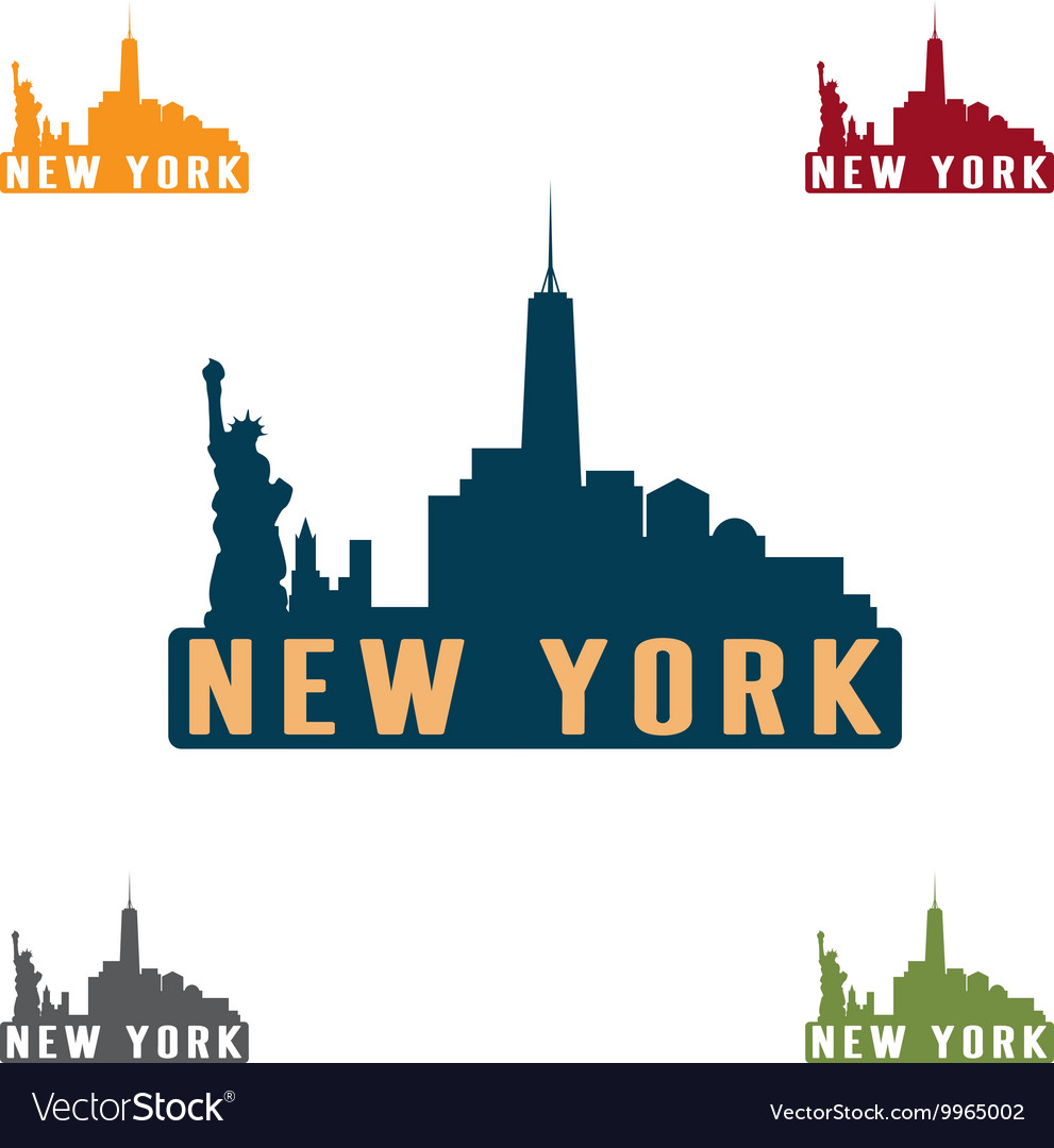 New york city skyline silhouette design template