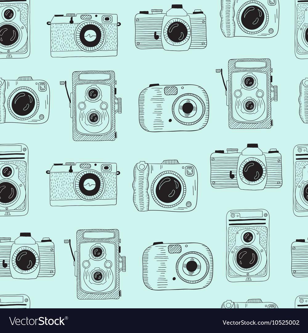 Photo cameras pattern Hand drawn