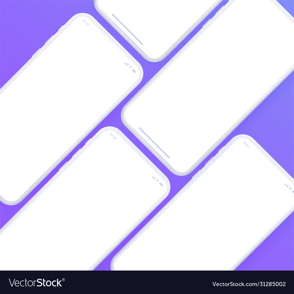 Set front view smartphones with blank white