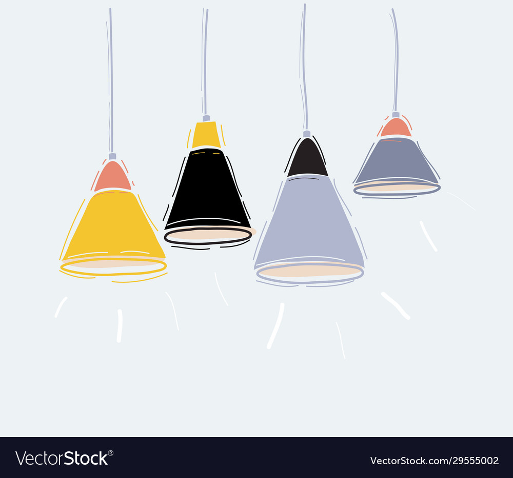 Set pendant hanging lamps on white