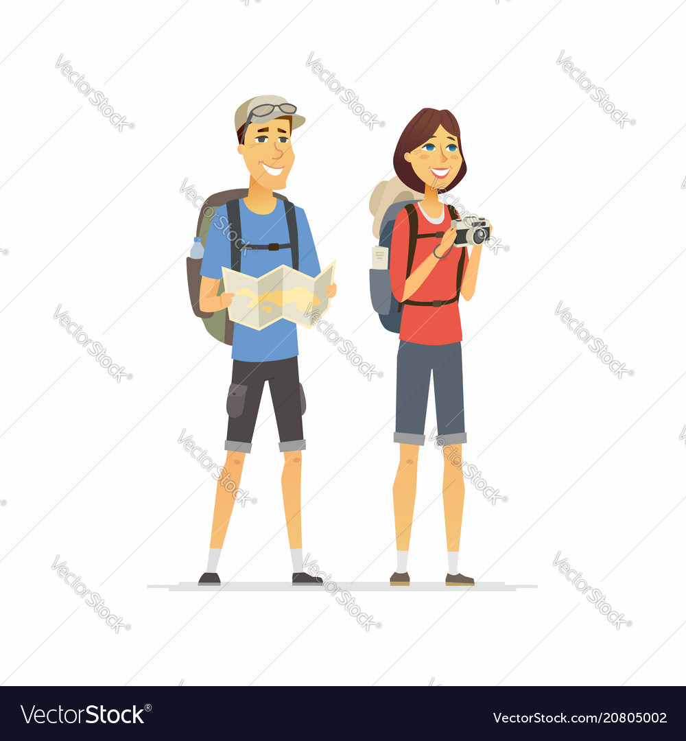 Young couple on vacation - cartoon people vector image