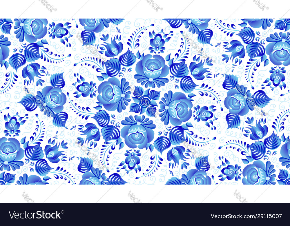 Blue painted flowers in russian gzhel style