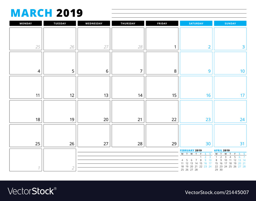 Calendar Template For March 2019 Business Planner