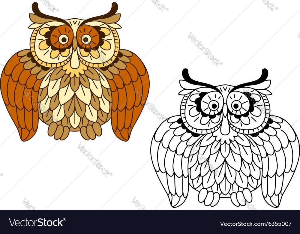 Cartoon funny brown owl bird