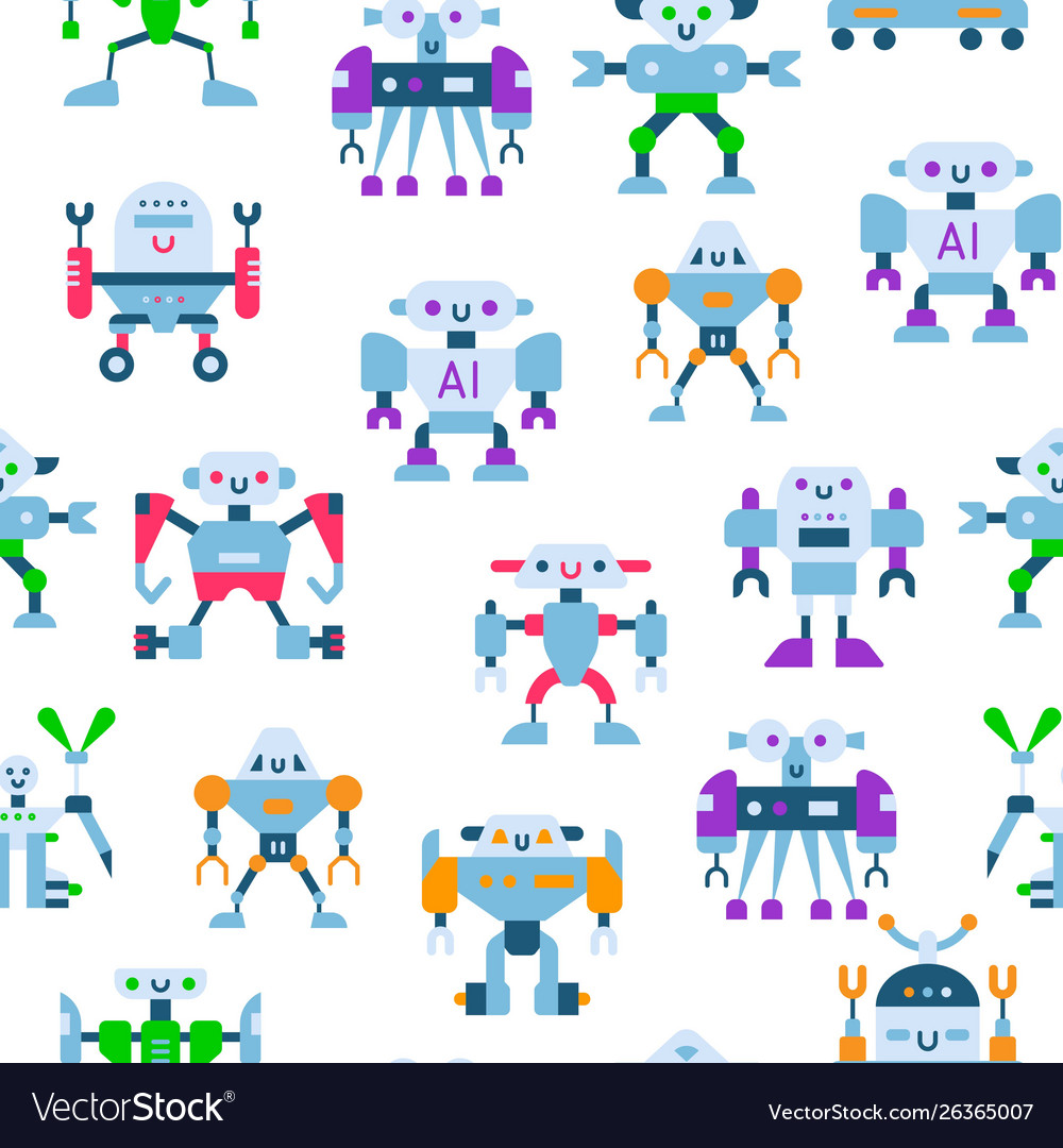 Cute toy robots with antennas and wires seamless