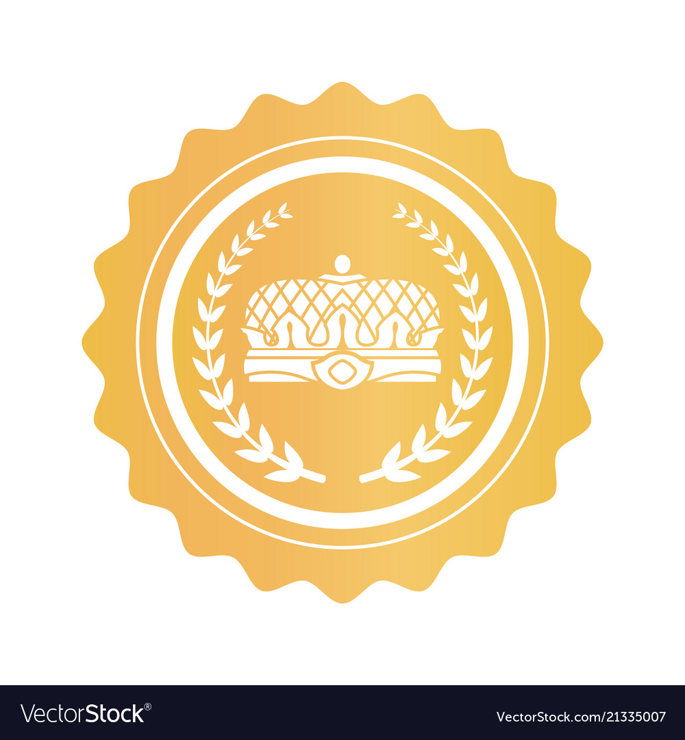 Gold Stamp With Emperors Crown And Laurel Branches Vector Image