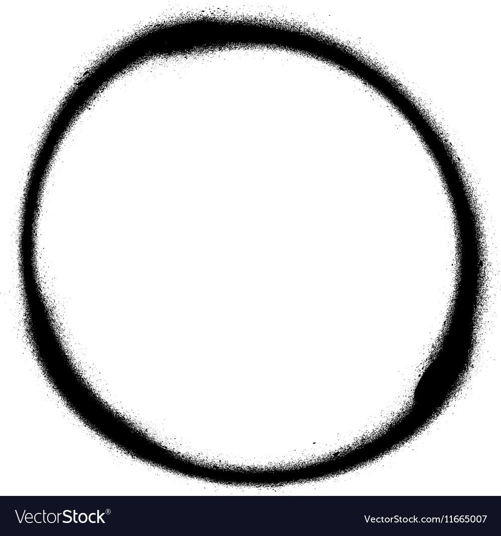 Graffiti circle spray design element in black