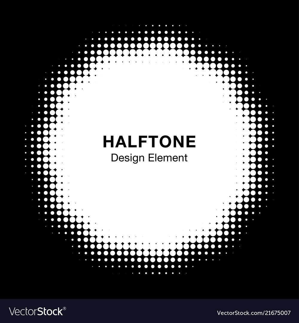 Halftone dots circle frame logo design element