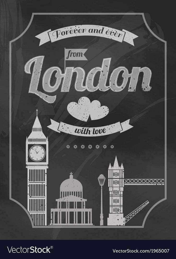 Love London chalkboard retro poster