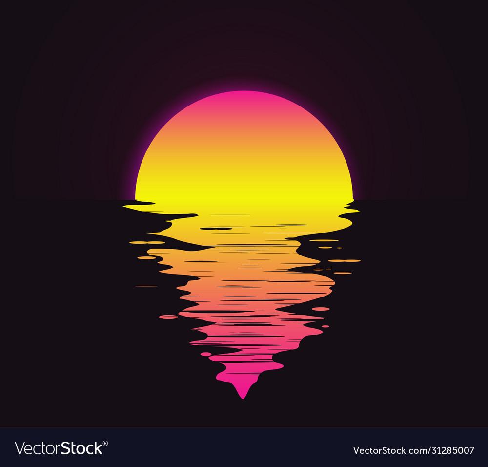 Retro vintage styled bright sunset