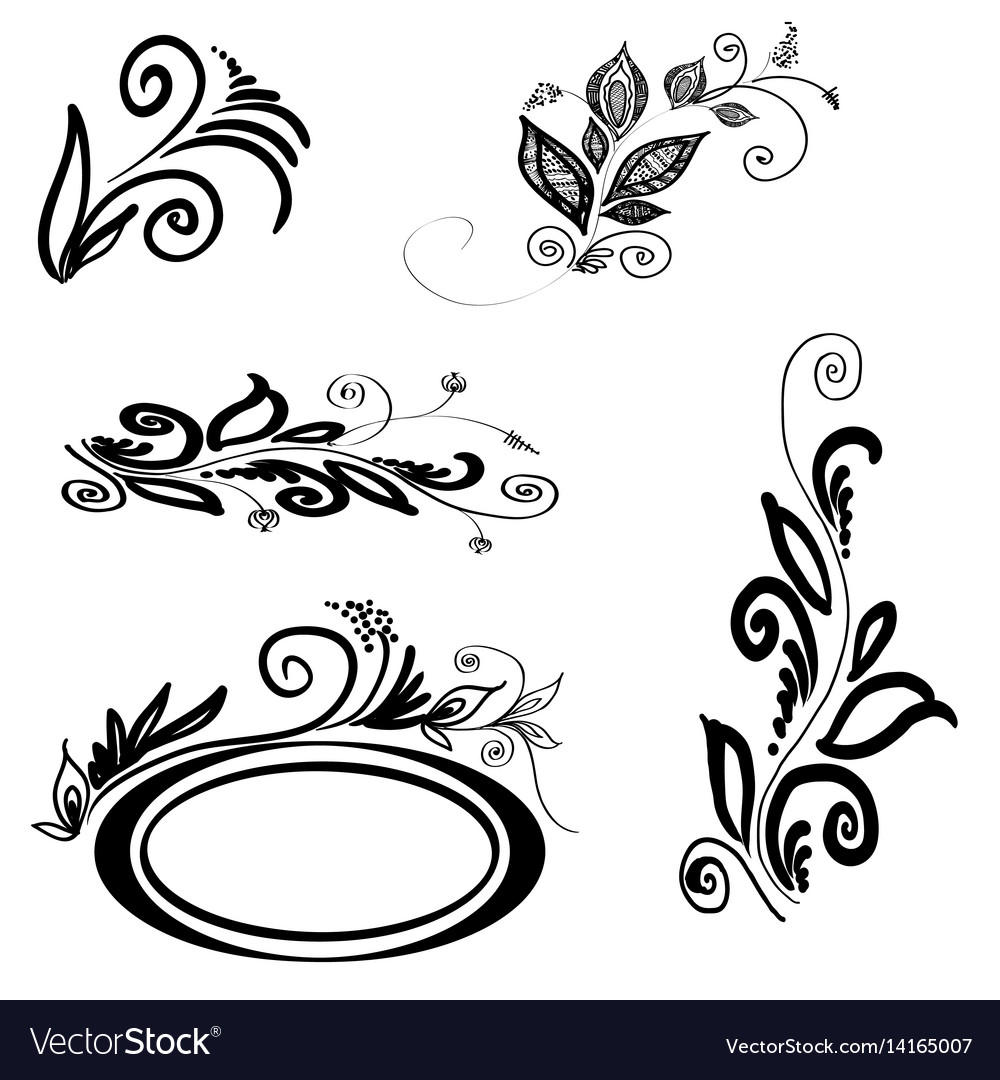 Set of floral silhouettes vector image