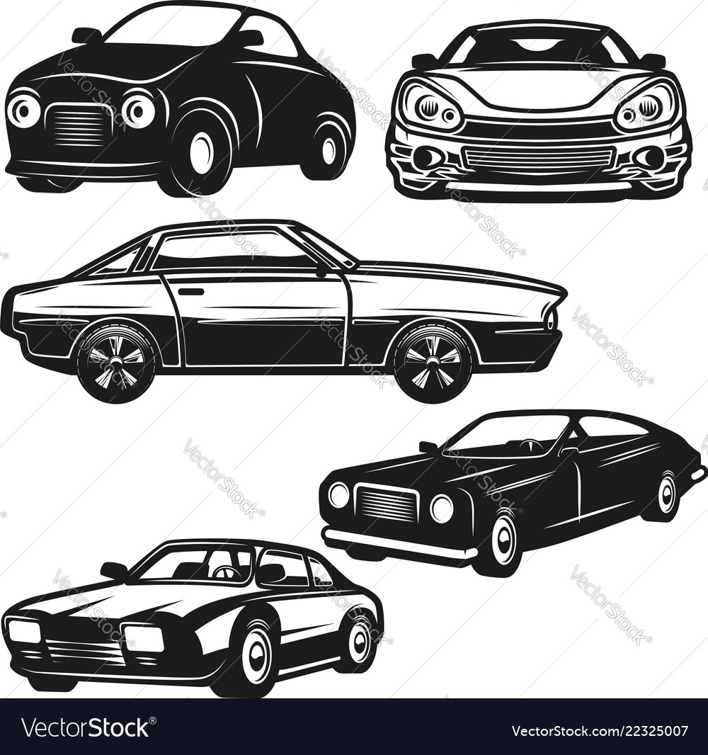 Set of retro car on white background design
