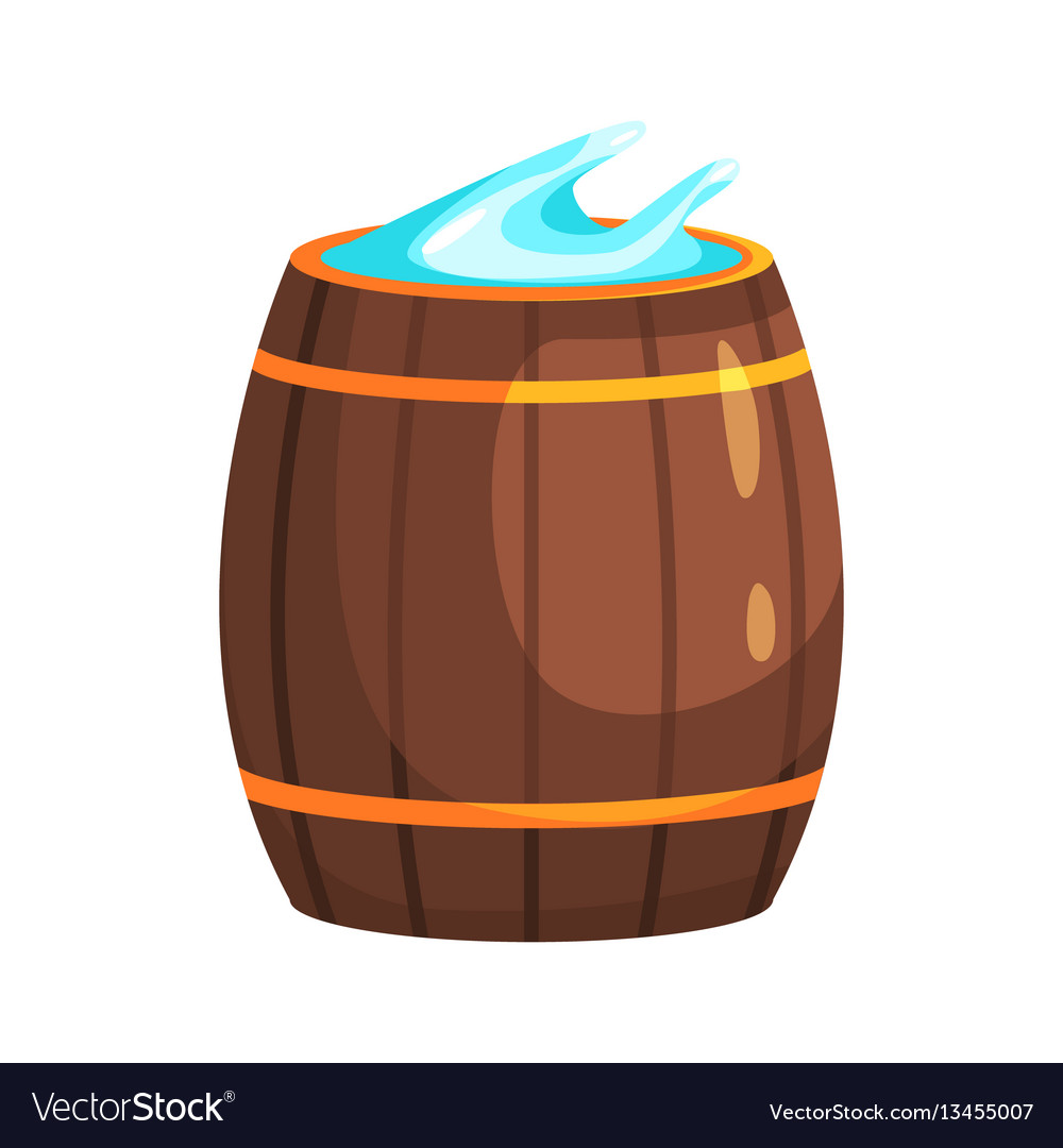 Wooden barrel with water part of russian steam vector image
