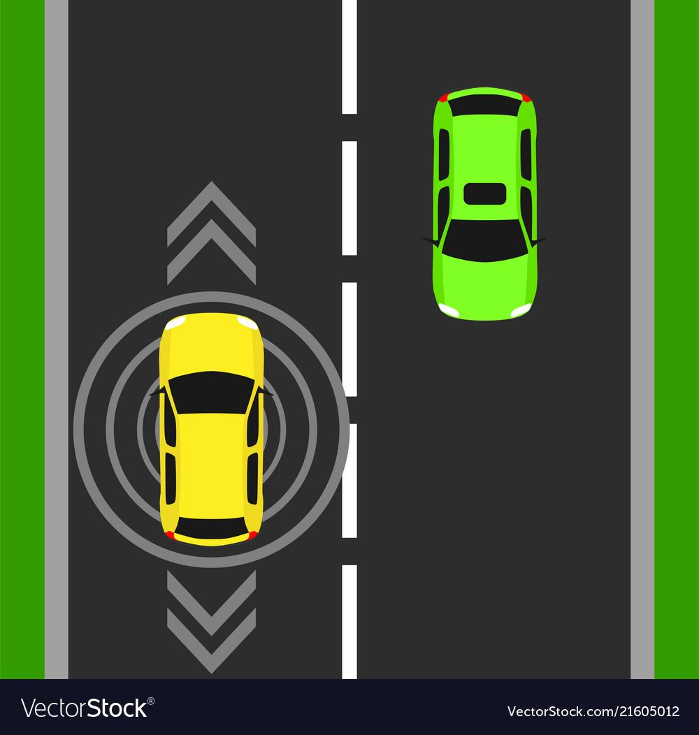 Autonomous car top view background digital