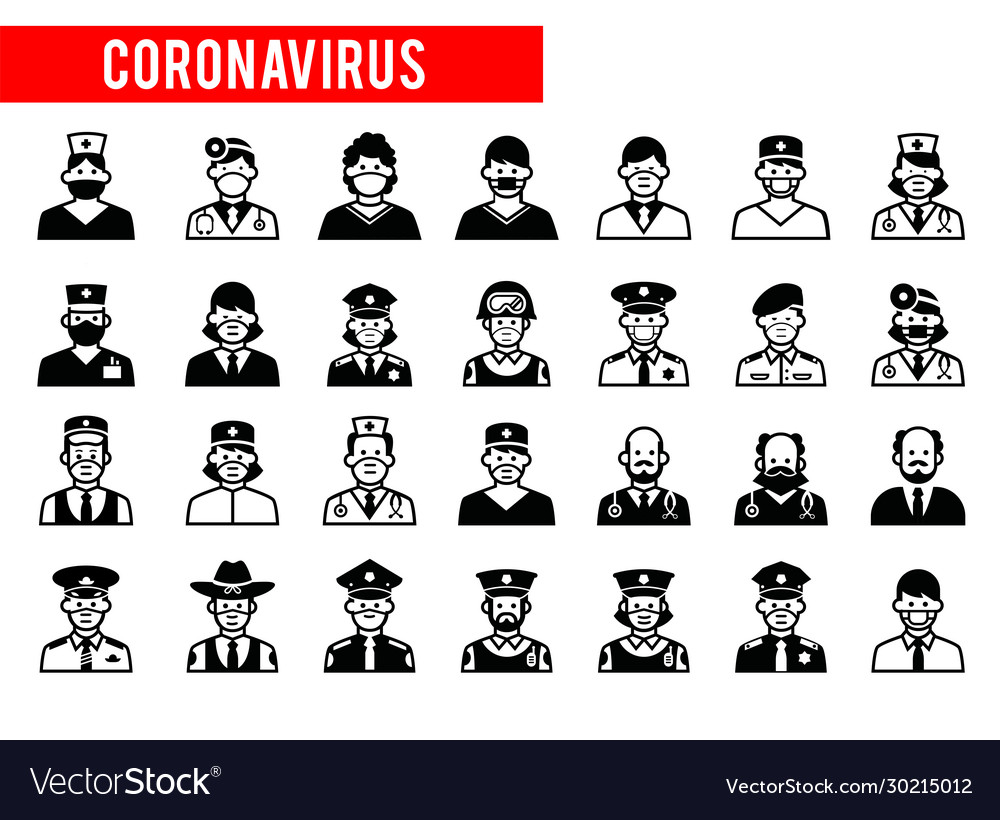 Avatars doctors and police face icons 2019
