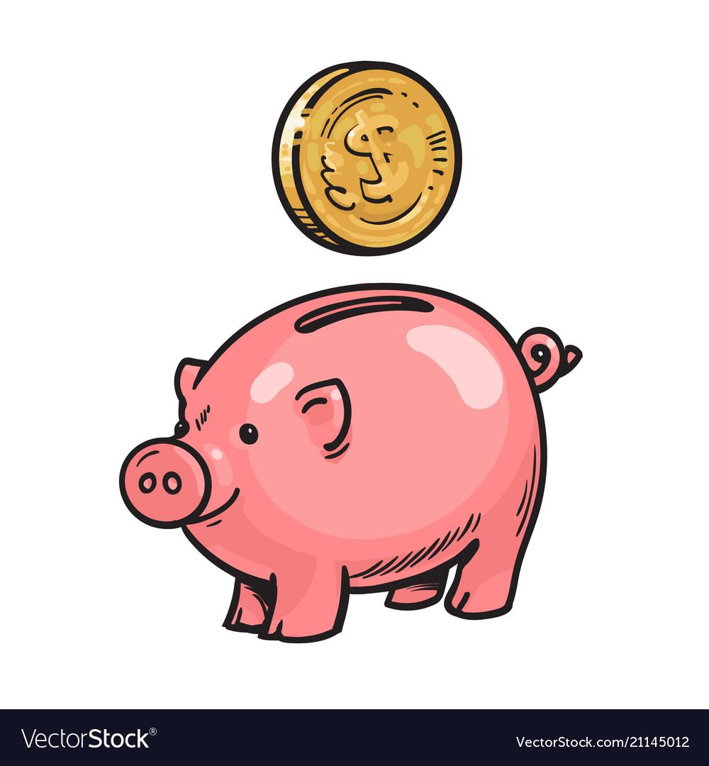 Cartoon piggy bank with coin