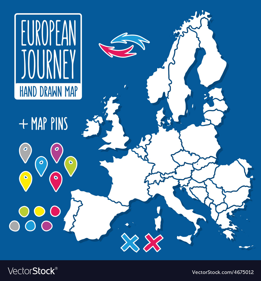 Cartoon style hand drawn journey map of europe vector image gumiabroncs Images