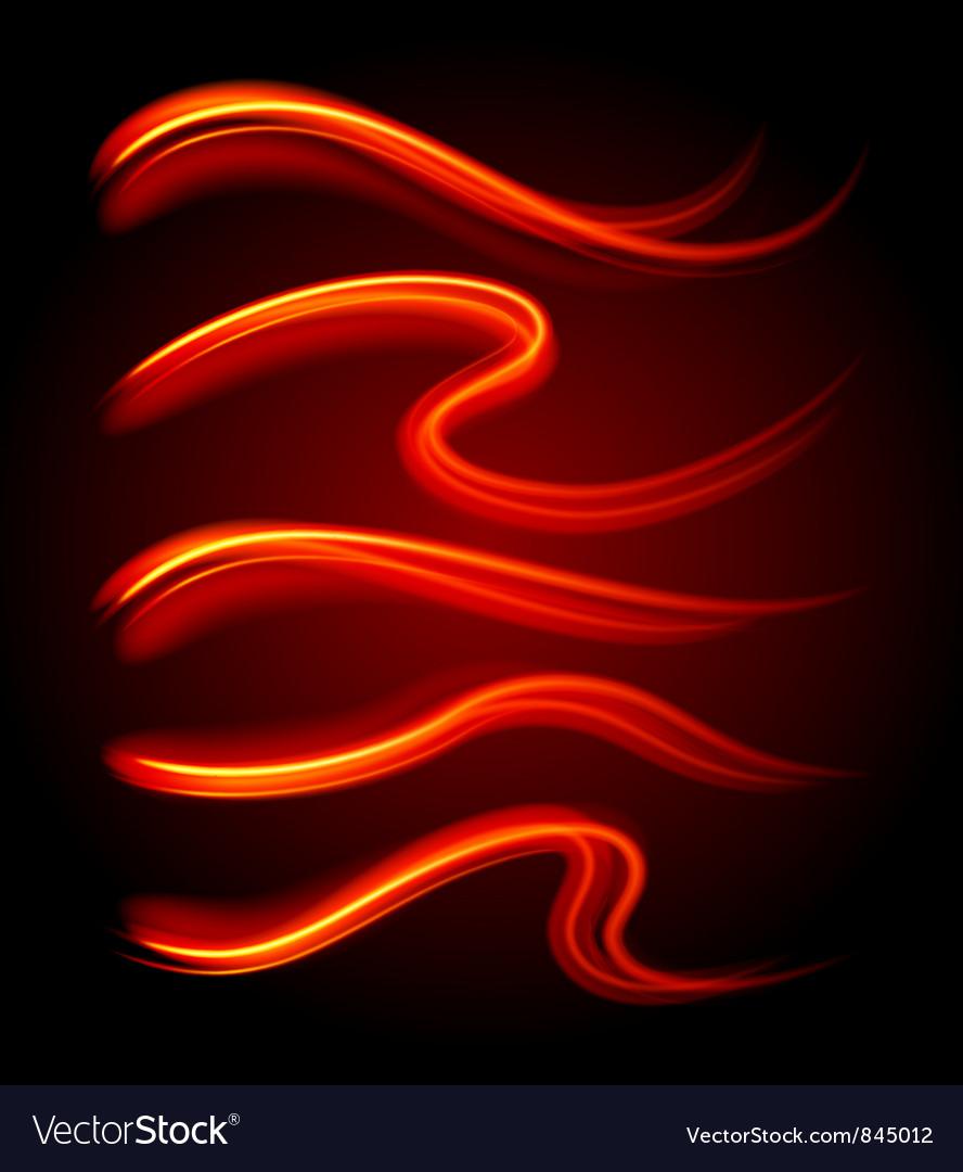Curly light streaks vector image
