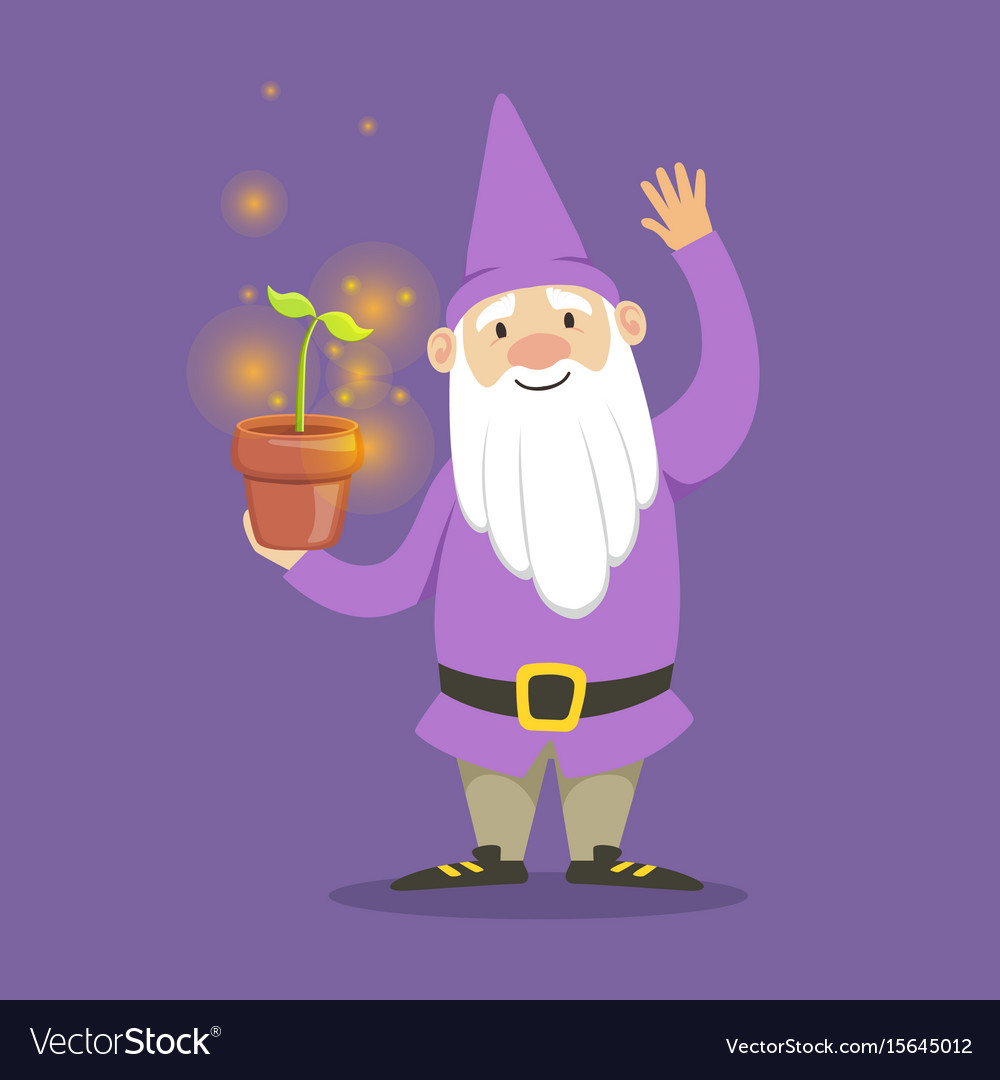 Cute dwarf in a purple jacket and hat standing