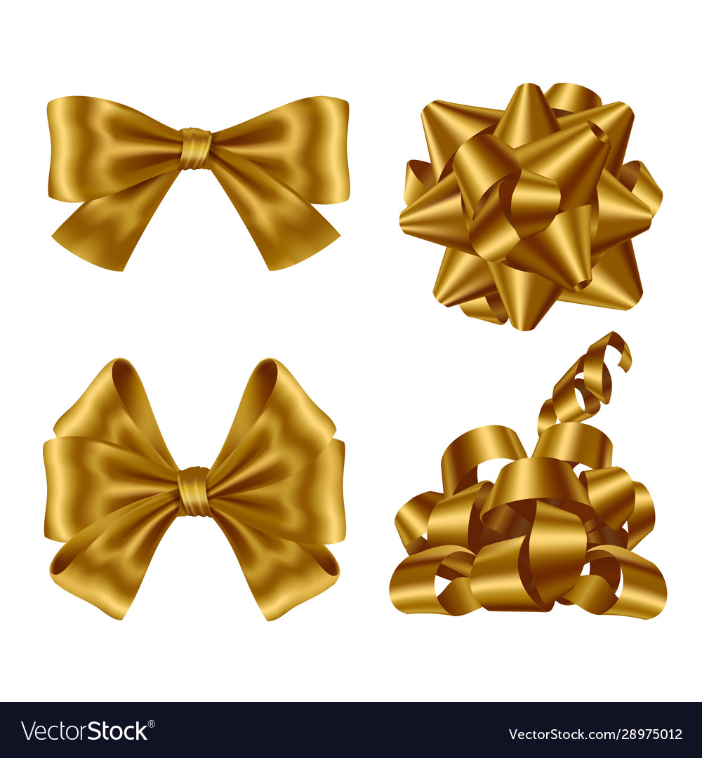 Gold ribbons and bows top view and side view set