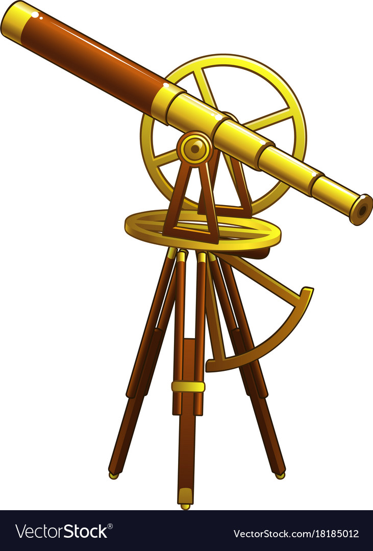 Golden ancient astronomical telescope