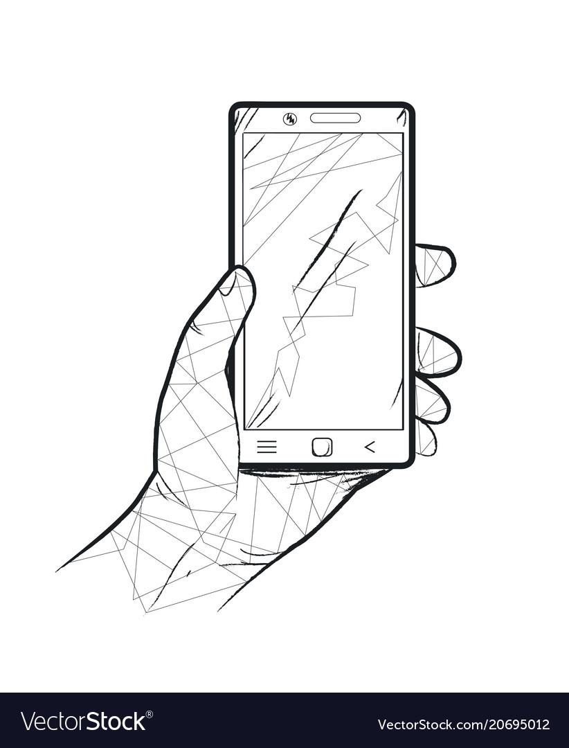 Hand and smartphone dark theme