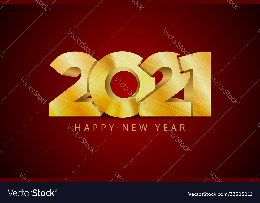Happy 2021 new year golden letters banner style