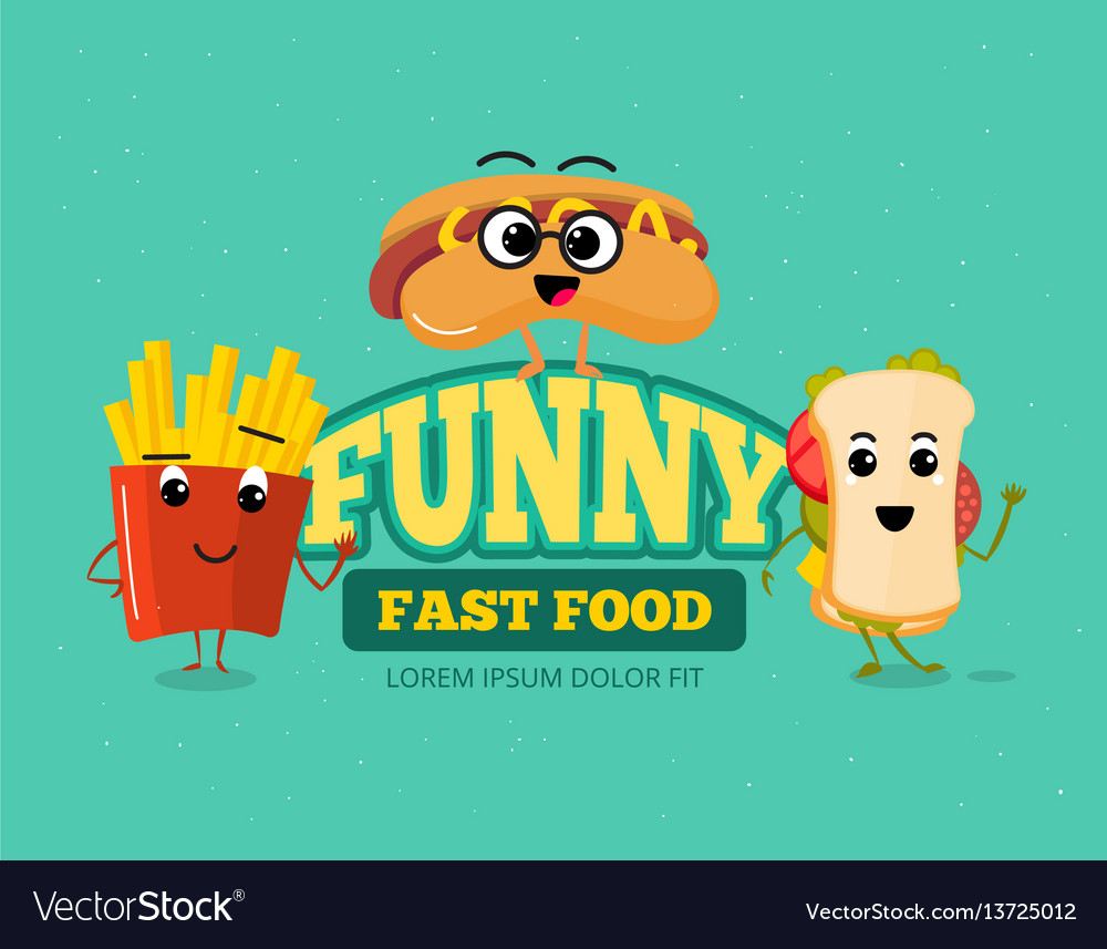 Happy fast food comic characters background vector image