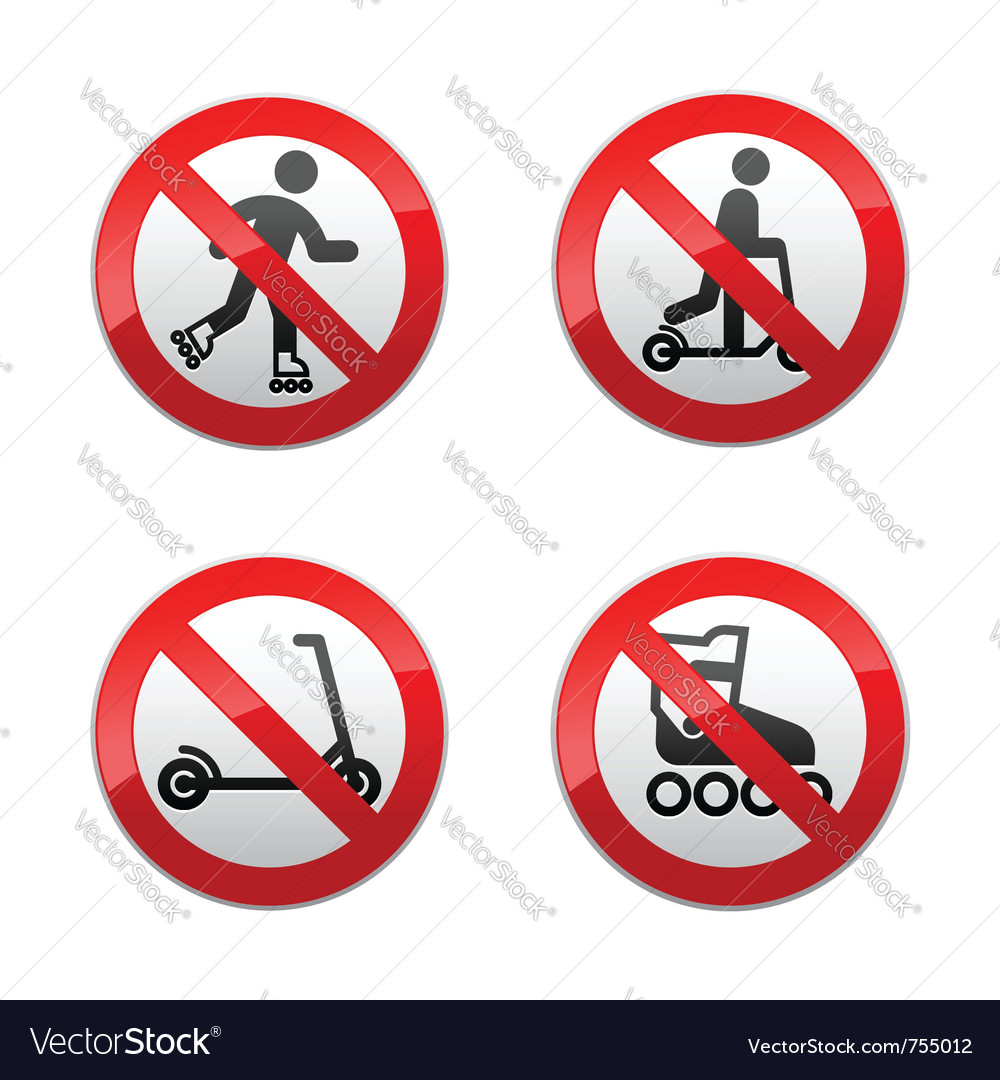 Set prohibited signs - scooter inline skates vector image