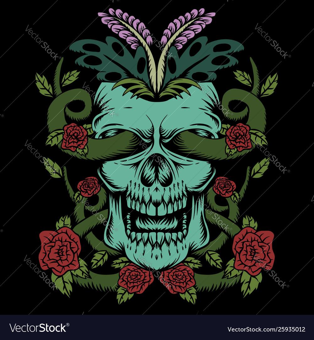Skull rose decoration