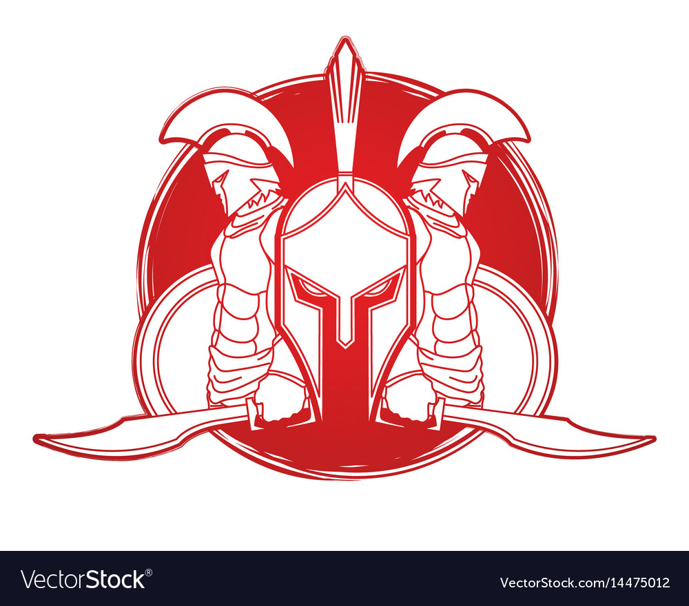 Spartan warriors with sword and shield roman army