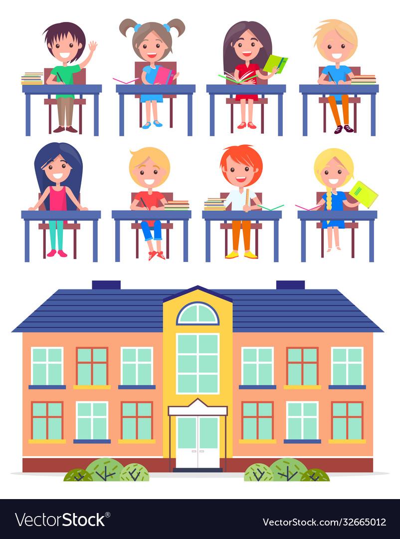 Students elementary school at desks