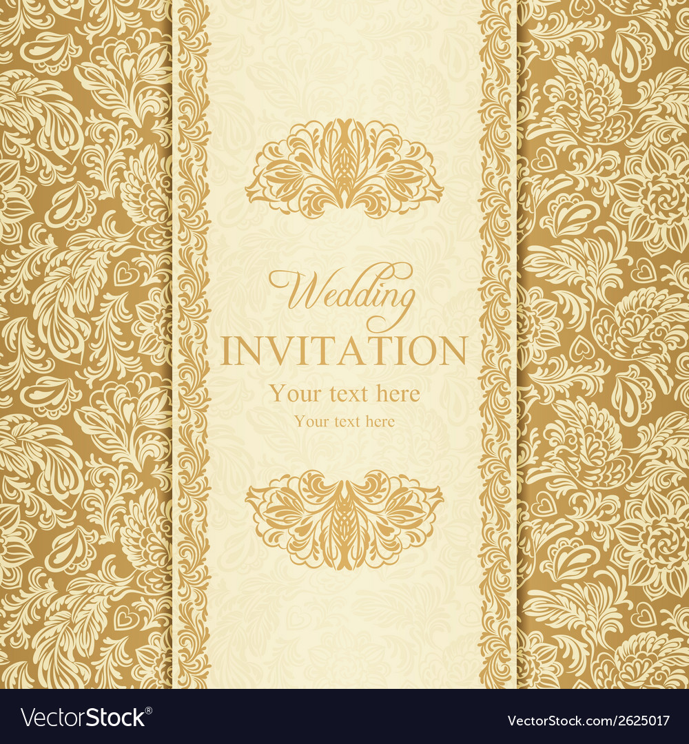 Baroque Wedding Invitation Gold