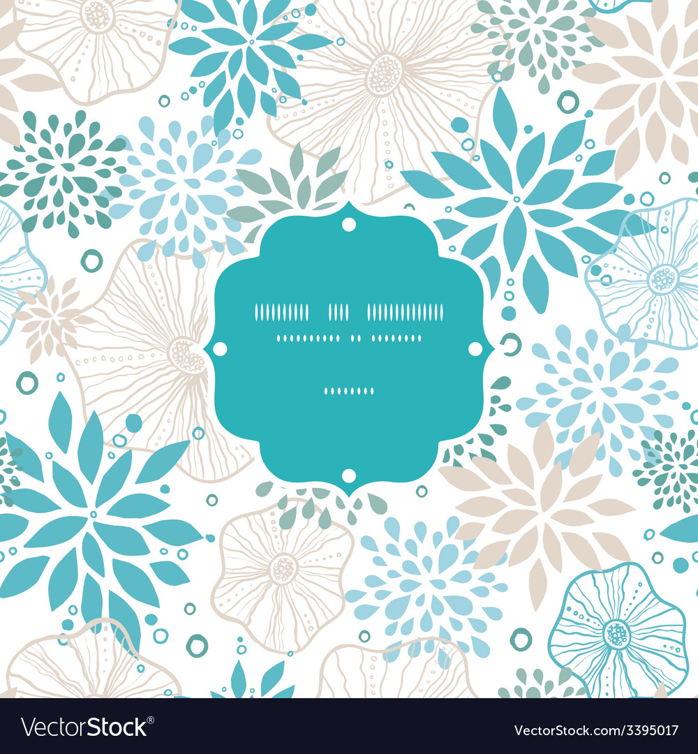 Blue and gray plants frame seamless pattern