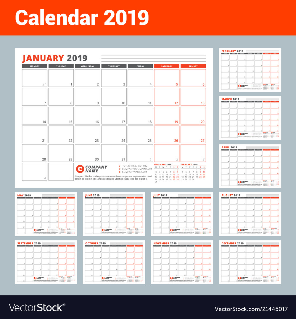Calendar template for 2019 year business planner vector image friedricerecipe Choice Image