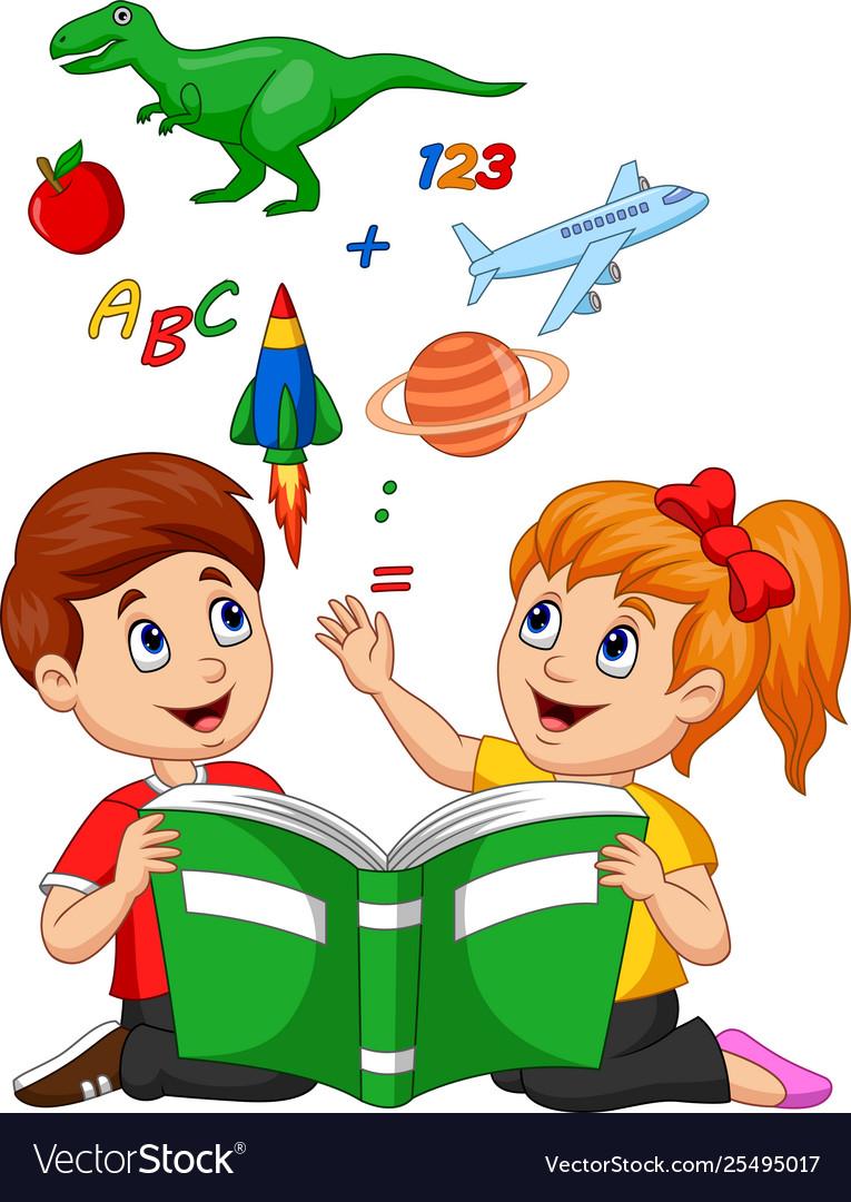 Cartoon kids reading book education concept Vector Image