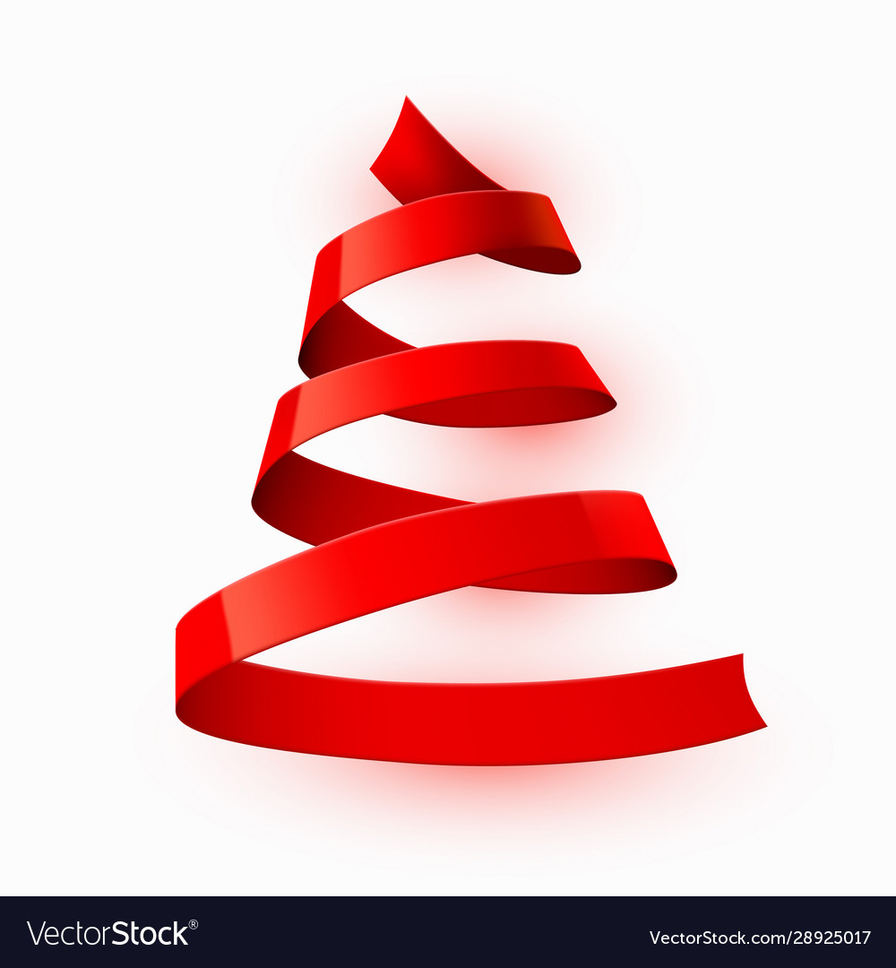 Christmas tree made red ribbon on bright