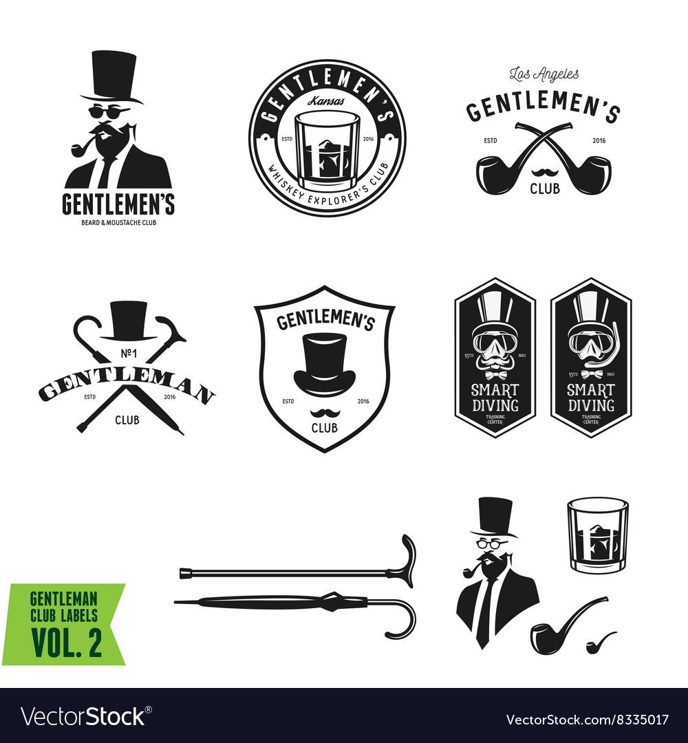 Collection of vintage gentleman emblems labels