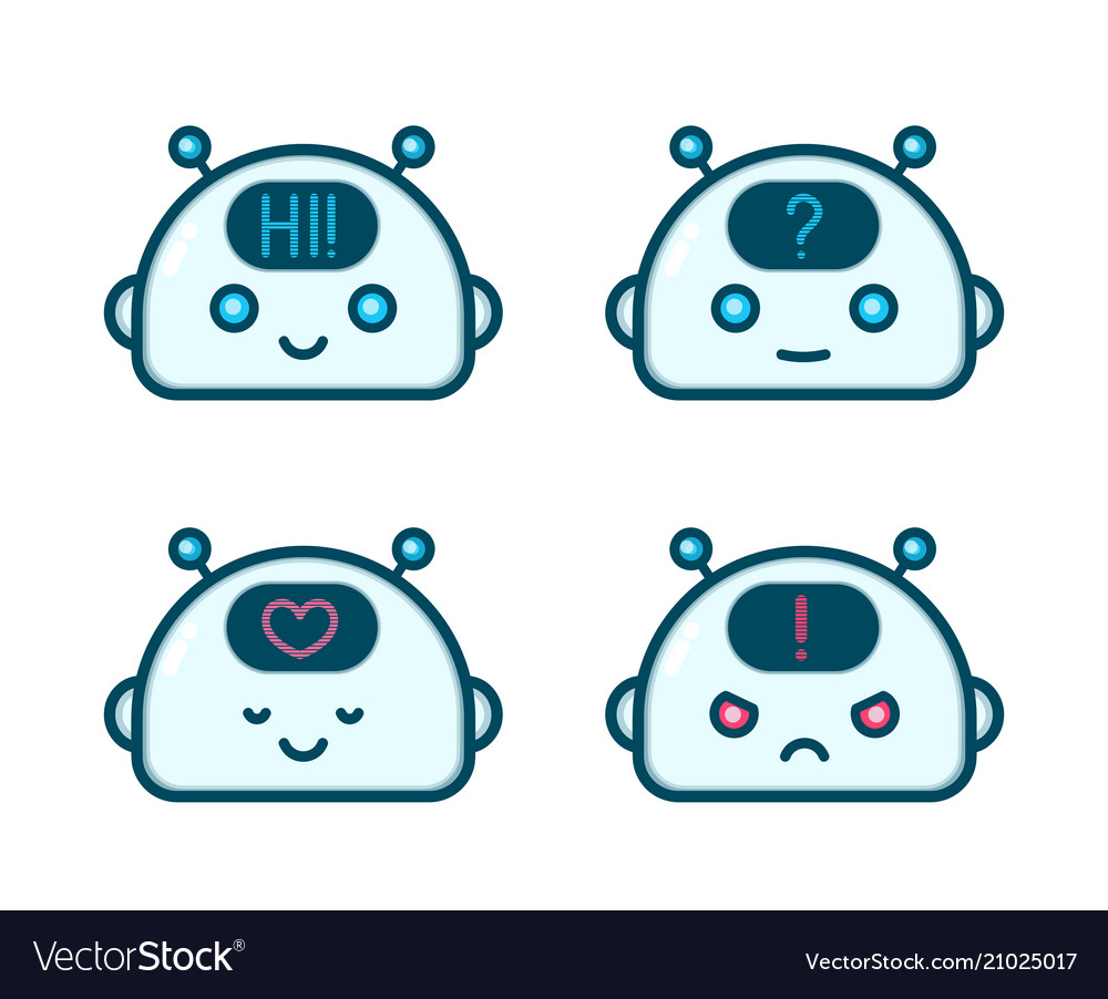 Cute robot chat bot face emotion character