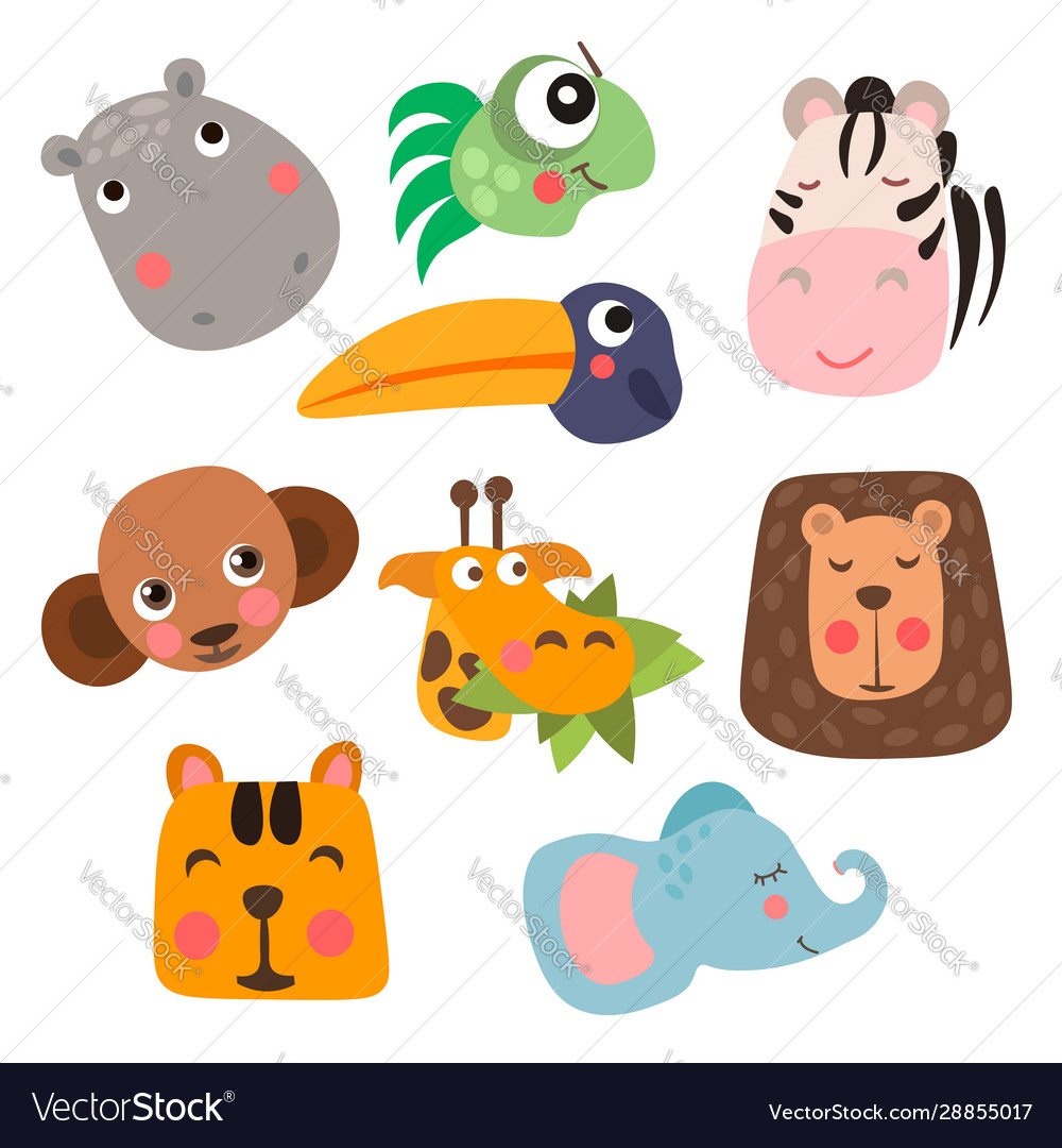 Cute safari animal faces in flat style isolated